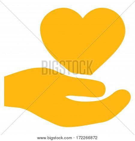 Love Heart Offer Hand flat icon. Vector yellow symbol. Pictogram is isolated on a white background. Trendy flat style illustration for web site design logo ads apps user interface.