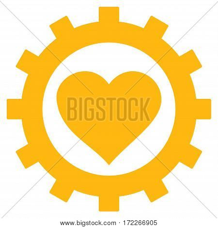 Love Heart Options Gear flat icon. Vector yellow symbol. Pictogram is isolated on a white background. Trendy flat style illustration for web site design logo ads apps user interface.