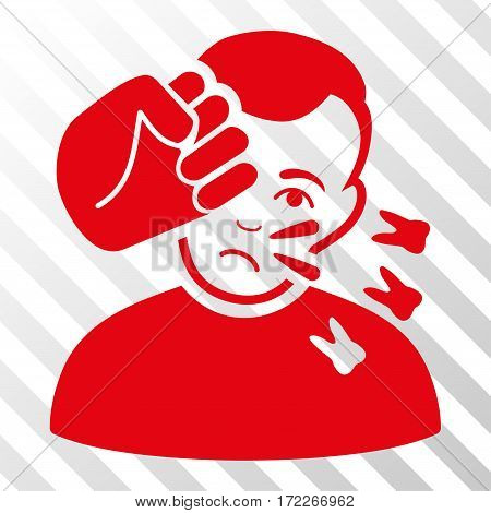Red Head Strike interface pictogram. Vector pictograph style is a flat symbol on diagonal hatch transparent background.