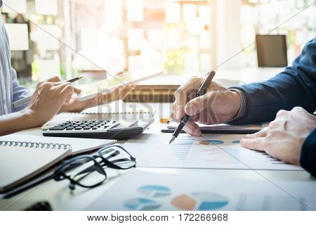 Business Man Financial Inspector And Secretary Making Report, Calculating Or Checking Balance. Inter