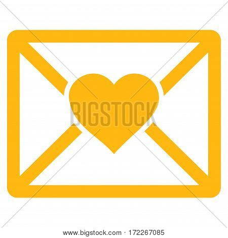 Love Letter flat icon. Vector yellow symbol. Pictogram is isolated on a white background. Trendy flat style illustration for web site design logo ads apps user interface.