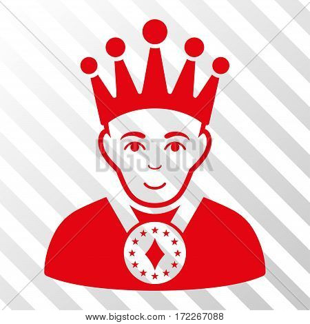 Red King interface toolbar icon. Vector pictograph style is a flat symbol on diagonal hatch transparent background.