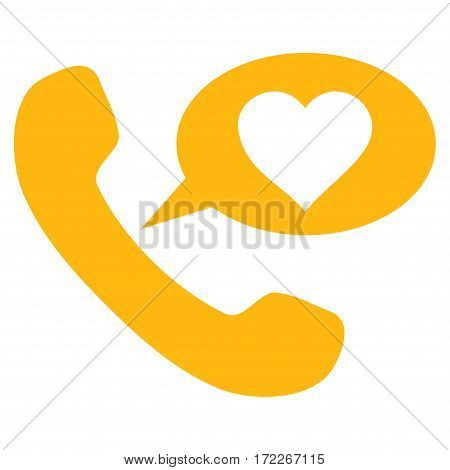 Love Phone Message flat icon. Vector yellow symbol. Pictogram is isolated on a white background. Trendy flat style illustration for web site design logo ads apps user interface.