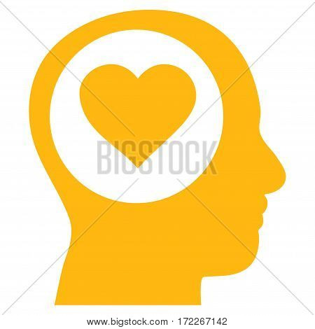 Love Thinking Head flat icon. Vector yellow symbol. Pictogram is isolated on a white background. Trendy flat style illustration for web site design logo ads apps user interface.