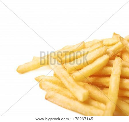 Pile of a potato french fries isolated over the white background