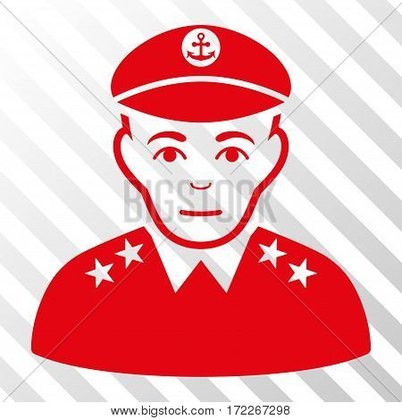Red Military Captain interface pictogram. Vector pictograph style is a flat symbol on diagonal hatch transparent background.