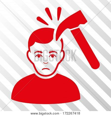 Red Murder With Hammer interface icon. Vector pictogram style is a flat symbol on diagonally hatched transparent background.