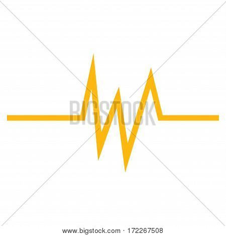 Pulse Signal flat icon. Vector yellow symbol. Pictogram is isolated on a white background. Trendy flat style illustration for web site design logo ads apps user interface.