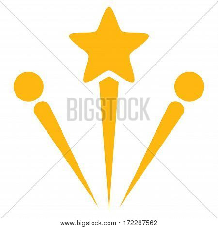 Salute Fireworks flat icon. Vector yellow symbol. Pictogram is isolated on a white background. Trendy flat style illustration for web site design logo ads apps user interface.