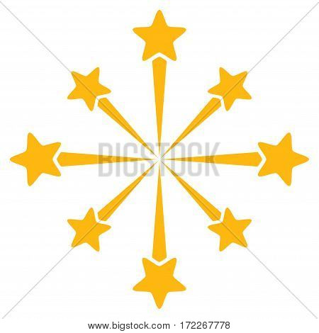 Star Burst Fireworks flat icon. Vector yellow symbol. Pictograph is isolated on a white background. Trendy flat style illustration for web site design logo ads apps user interface.