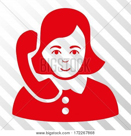 Red Receptionist interface pictogram. Vector pictograph style is a flat symbol on diagonal hatch transparent background.
