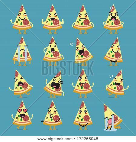 Pizza character emoji set. Funny cartoon emoticons