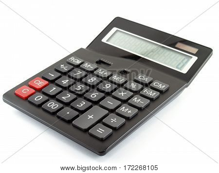 black calculator isolated on white background, electronic equipment for calculating the numbers in business & finance or education