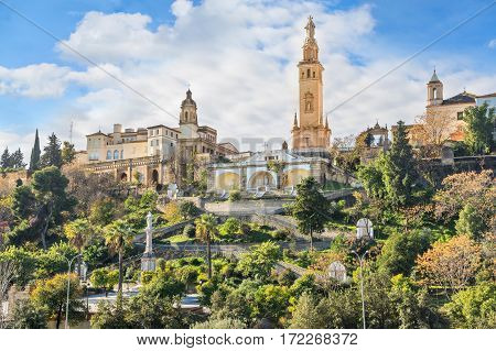 The monumental tower to the Sacred Heart of Jesus in San Juan de Aznalfarache Seville Andalusia Spain