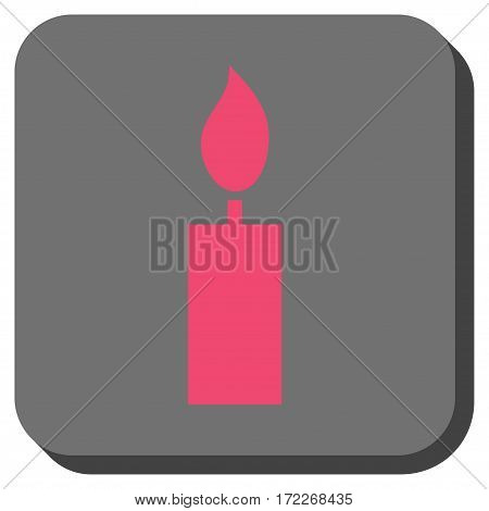 Candle square button. Vector pictogram style is a flat symbol in a rounded square button pink and gray colors.
