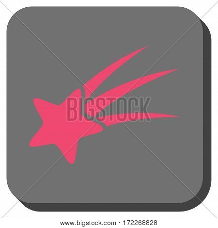 Falling Star interface icon. Vector pictograph style is a flat symbol centered in a rounded square button pink and gray colors.