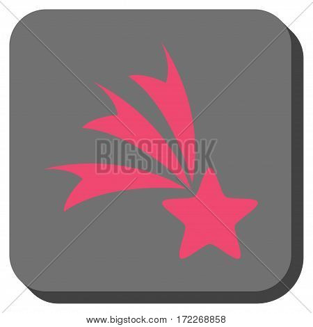 Falling Star interface button. Vector pictogram style is a flat symbol in a rounded square button pink and gray colors.