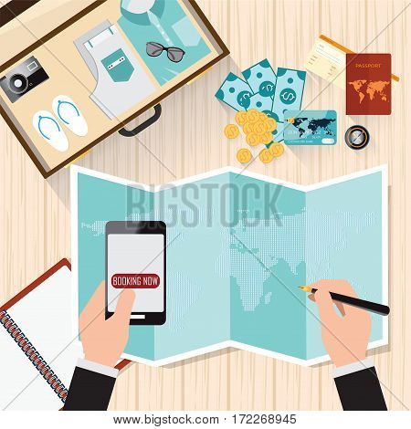 Top view of Travel planning Man with world map search place for holiday booking tickets Desk with elements of travel Vacation time conceptual vector illustration.