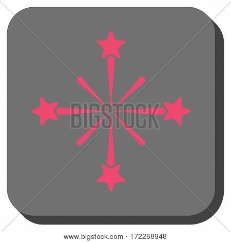 Fireworks rounded icon. Vector pictogram style is a flat symbol inside a rounded square button pink and gray colors.