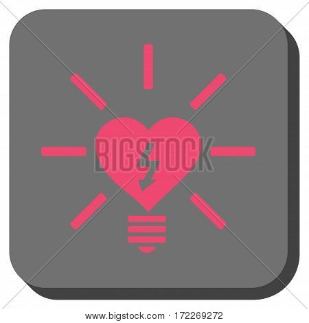 Heart Electric Bulb toolbar icon. Vector pictograph style is a flat symbol inside a rounded square button pink and gray colors.