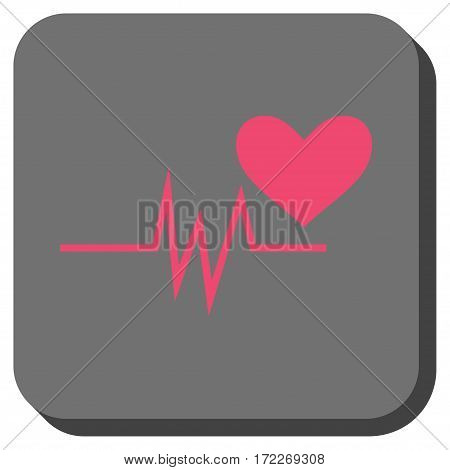 Heart Pulse Signal toolbar icon. Vector pictogram style is a flat symbol on a rounded square button pink and gray colors.