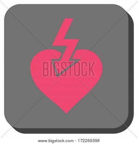 Heart Shock Strike toolbar button. Vector pictograph style is a flat symbol in a rounded square button pink and gray colors.