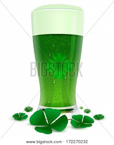 Green drink ale in high transparent glass. Green leaf quatrefoil clover symbol of St. Patricks Day. Isolated on white vector illustration