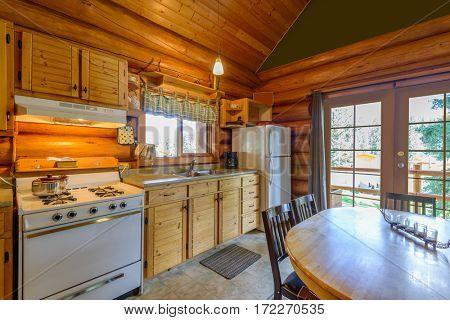 Kitchen in log cabin.