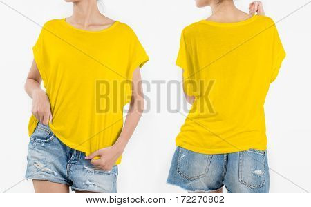 woman body in yellow T-shirt with short rip jeans front and back side isolated on white background.