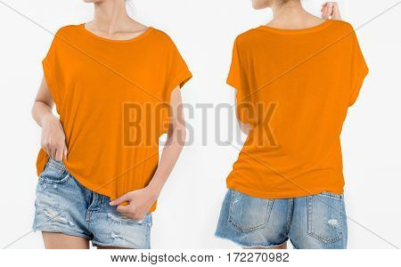 woman body in orange T-shirt with short rip jeans front and back side isolated on white background.