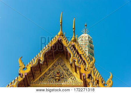 Beautiful Asian Style Architecture. Lavishly Decorated Roof And Stupa
