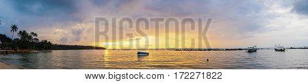Panorama of Fisherman Boat Sailing at Sunrise, Thailand