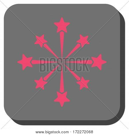 Star Burst Fireworks square icon. Vector pictograph style is a flat symbol on a rounded square button pink and gray colors.