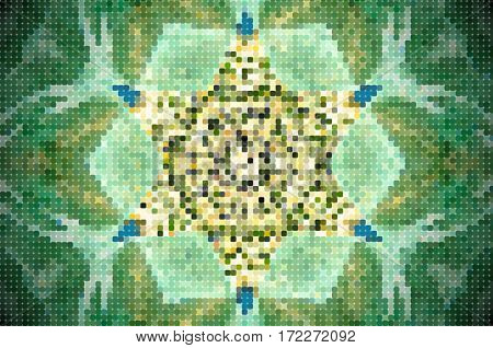 Abstract Pixelated 6 Sided Star