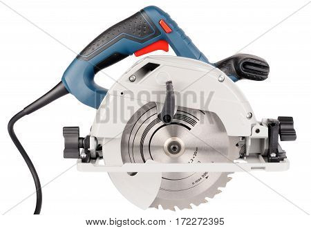 Electrical saw side view isolated on the white background