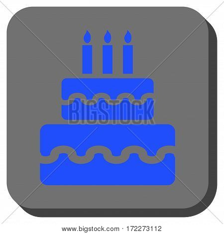 Birthday Cake interface button. Vector pictograph style is a flat symbol centered in a rounded square button blue and gray colors.