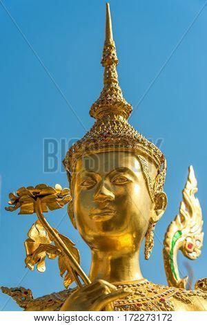 Apsonsi Gold Statue. Asian Art Close Up