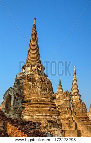 Three chedis of Wat Si Sanphet, Ayutthaya, Thailand