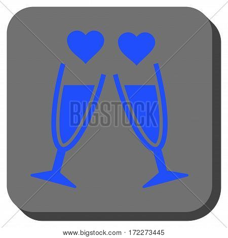 Clink Glasses square icon. Vector pictograph style is a flat symbol centered in a rounded square button blue and gray colors.