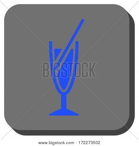 Cocktail toolbar button. Vector pictograph style is a flat symbol centered in a rounded square button blue and gray colors.