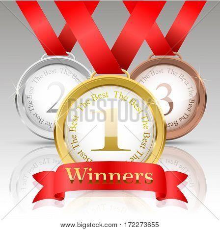 Set medals. gold, silver, bronze.Winner simbol. Realistic vector illustration