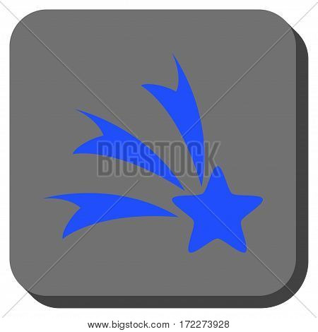 Falling Star rounded button. Vector pictograph style is a flat symbol on a rounded square button blue and gray colors.