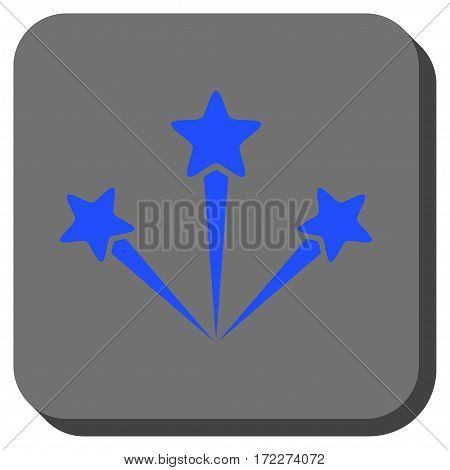 Festive Fireworks interface toolbar button. Vector pictogram style is a flat symbol in a rounded square button blue and gray colors.