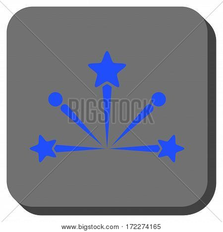 Fireworks Bang rounded button. Vector pictograph style is a flat symbol centered in a rounded square button blue and gray colors.