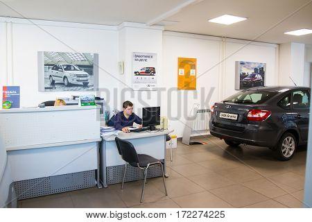 Showroom And Car Lada Of Dealership Gusar Of Factory Avtovaz In Kirov City In 2016