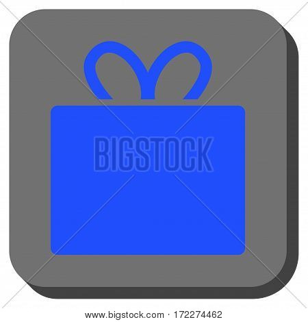 Gift rounded button. Vector pictogram style is a flat symbol centered in a rounded square button blue and gray colors.