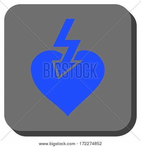 Heart Shock Strike interface button. Vector pictograph style is a flat symbol on a rounded square button blue and gray colors.