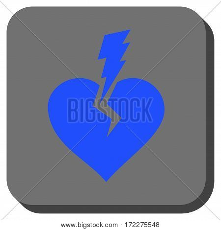 Love Heart Crash square button. Vector pictogram style is a flat symbol on a rounded square button, blue and gray colors.