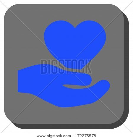 Love Heart Offer Hand interface toolbar button. Vector pictograph style is a flat symbol on a rounded square button, blue and gray colors.