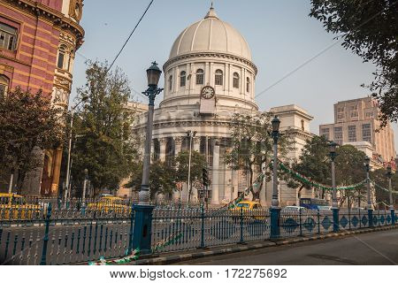 KOLKATA, INDIA -FEBRUARY 12, 2017: Heritage architectural building the General Post Office or GPO at B.B.D. Bag in Kolkata which handles most of the city's inbound and outbound mail and parcels.